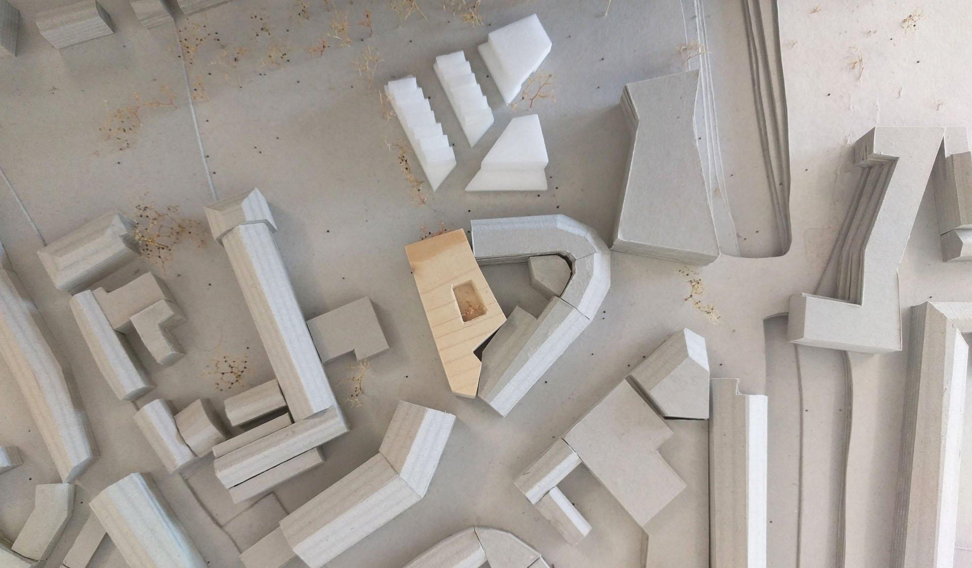Miniatur Modell Stadtbücherei von oben