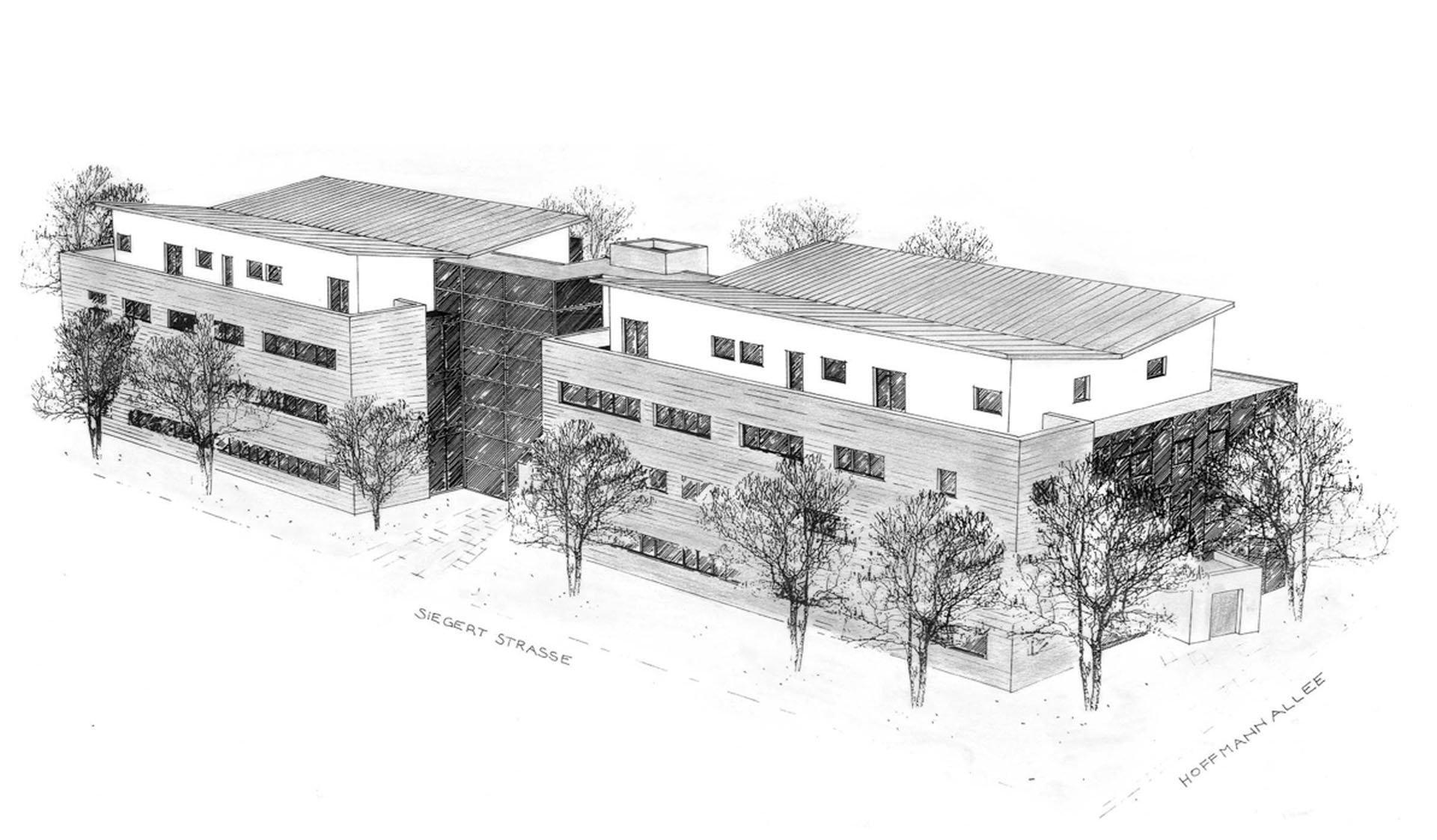 Skizze von Bürogebäuden