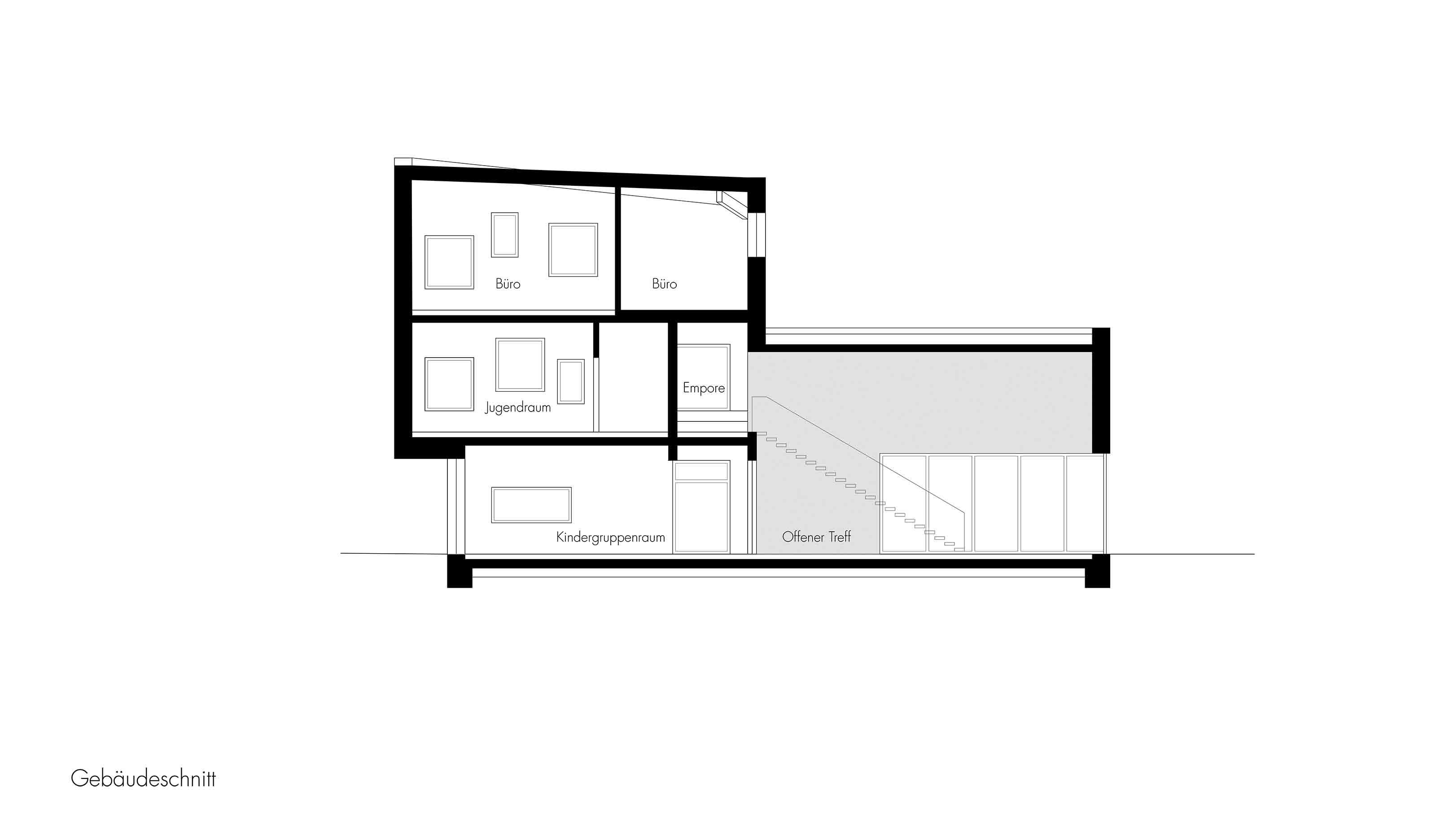 Gebäudeschnitt-Neubau-eines-Stadtteilzentrums